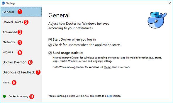 Docker for Windowsの設定画面