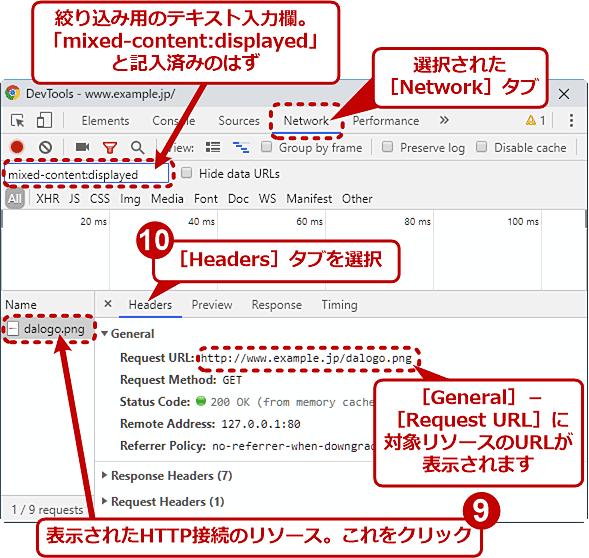 Chromeのデベロッパーツールで「安全」ではない要素を見つける(4/6)