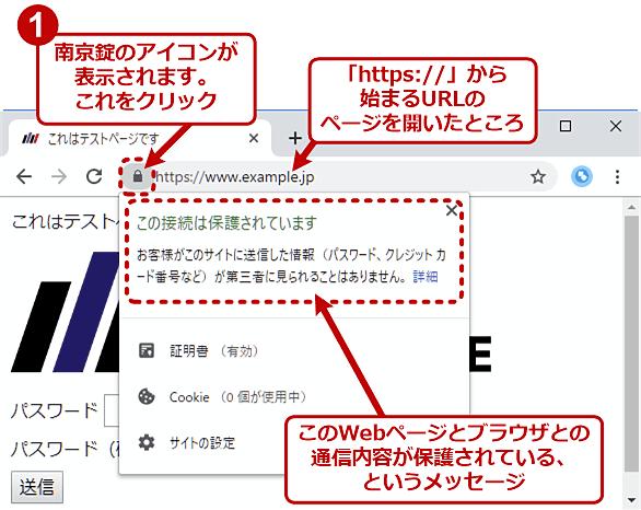 Chromeで「https://〜」のWebページを開いたときのアドレスバーの例(正常時)