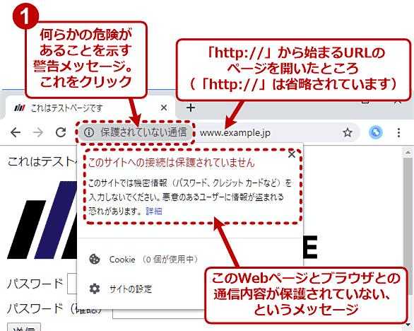Chromeで「http://〜」のWebページを開いたときのアドレスバーの例