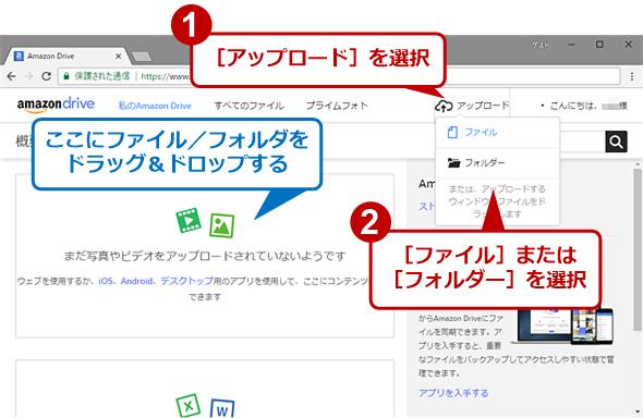 WebブラウザでAmazon Driveにファイルをアップロードする(1)