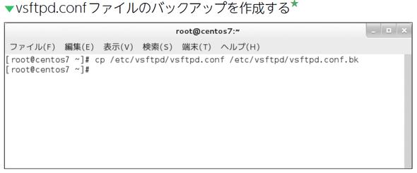 vsftpd.confファイルのバックアップを作成する