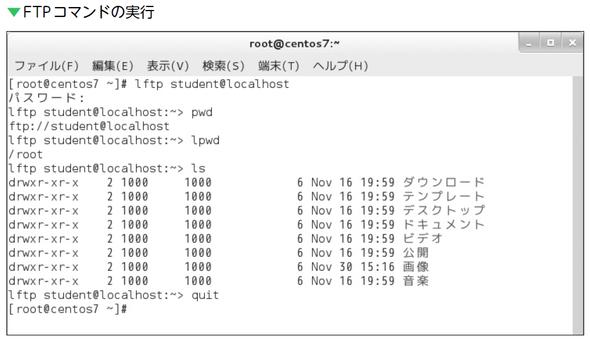 FTPコマンドの実行