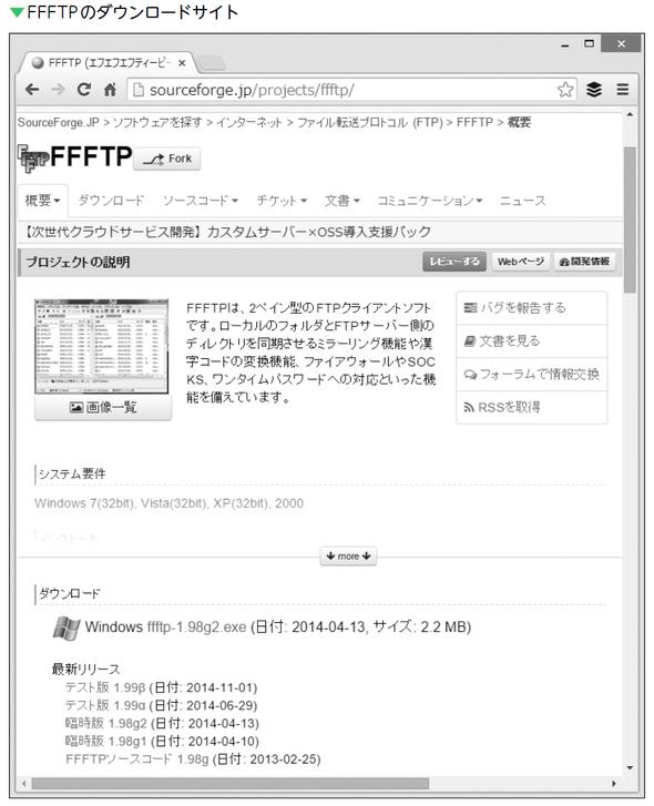 FFFTPのダウンロードサイト