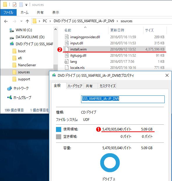 Windows Server 2016のインストール用イメージ
