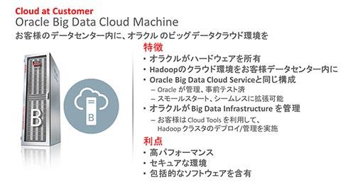客のデータセンター内にオラクルのビッグデータクラウド環境をサービスとして提供する「Oracle Big Data Cloud Machine」