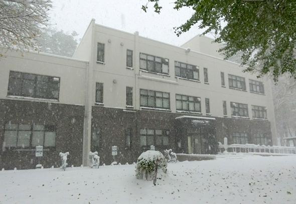 雪に埋もれる会場の北海道大学情報基盤センター南館