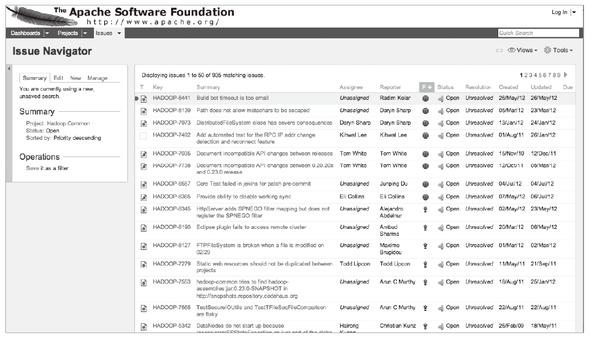 図3-5 Hadoopのバグ報告(https://issues.apache.org/jira/browse/HADOOP)