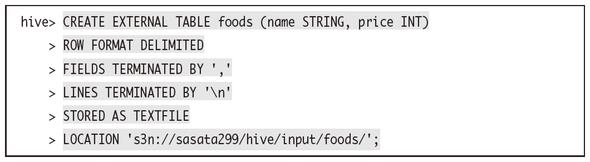 foodsという外部テーブルを作成する例
