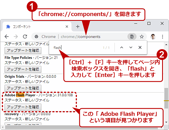 Chromeの「コンポーネント」画面でFlash Playerを見つける