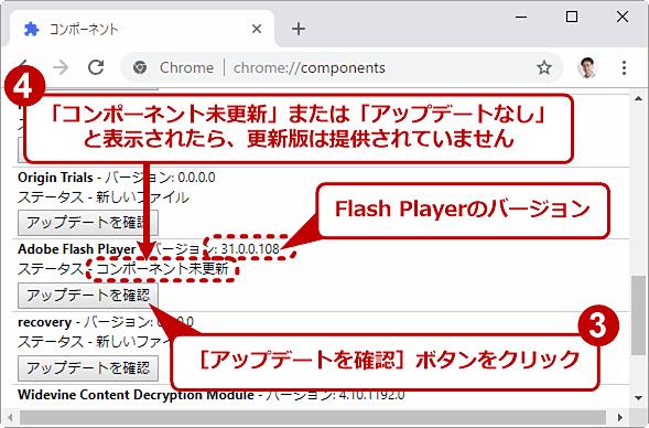 Flash Playerの[アップデートを確認]ボタンをクリックした結果
