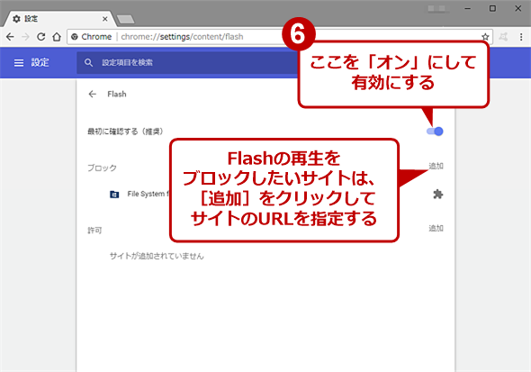 Google Chromeの[Flash]画面