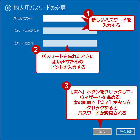 [個人用パスワードの変更]画面(2)