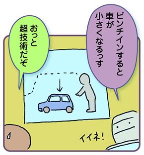 マルコフくん「ピンチインすると車が小さくなるっす」わたし「おっと。超技術だぞ」