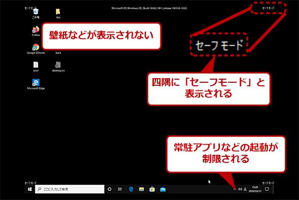 Windows 10のセーフモード画面
