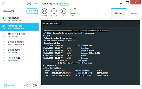 Windowsコンテナの実行例