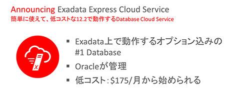 開発/検証環境の構築に向く、低コスト型サービス「Exadata Express Cloud Service」も提供する