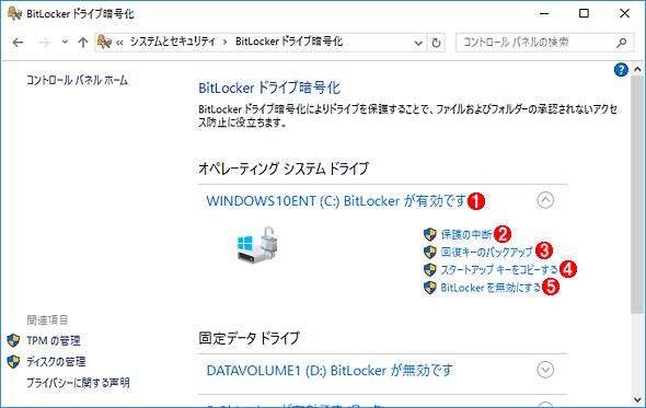 OSドライブを暗号化した例