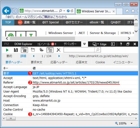 HTTPリファラの情報例