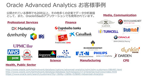 Oracle Advanced Analyticsを既に活用している企業