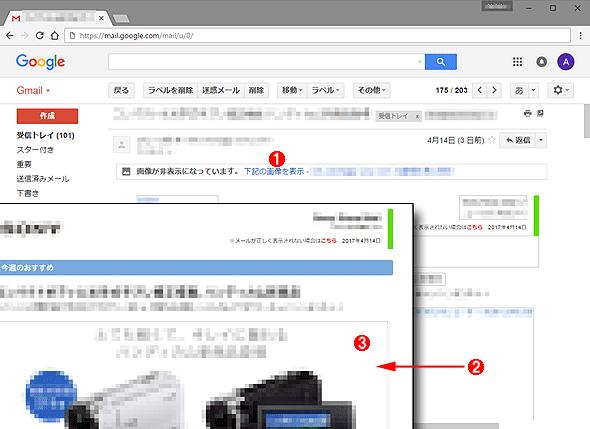 「メッセージ内の画像:」項目で「外部画像を表示する前に確認する」にした場合のメール表示