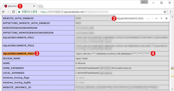 phpinfo()の出力から接続文字列の環境変数を確認する