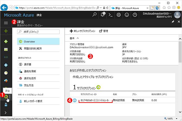 Azure管理ポータルで[課金]情報を確認する