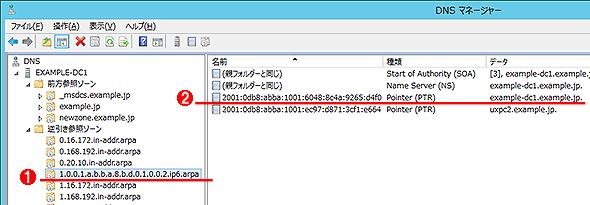 逆引きIPv6アドレスの例
