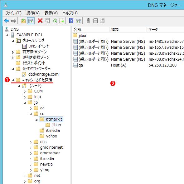 DNSキャッシュの例