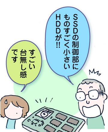 荒木さん「SSDの制御部にものすごく小さいHDDが!!」わたし「すごい台無し感です」