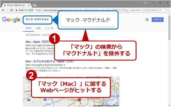 「マック -マクドナルド」と検索することで「マクドナルド」に関するWebページを検索対象から外す