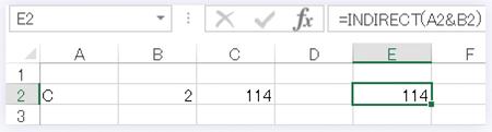 セルA2に「C」、セルB2に「2」と入力し、=INDIRECT(A2&B2)とした例