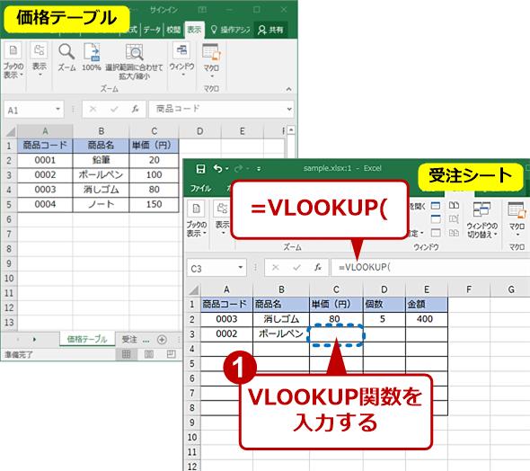 自動入力したいセルにVLOOKUP関数を入力する