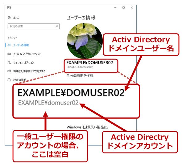 Active Directoryドメインアカウントでサインインしている場合