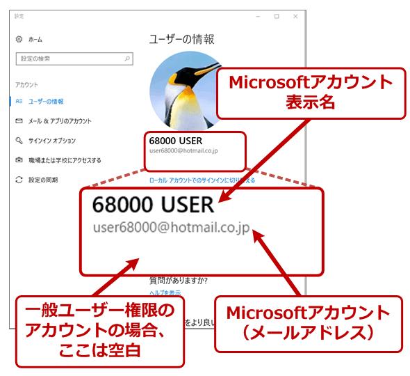 Microsoftアカウントでサインインしている場合