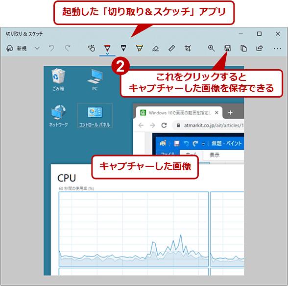 キャプチャーした画像を「切り取り&スケッチ」アプリで保存する(2/2)