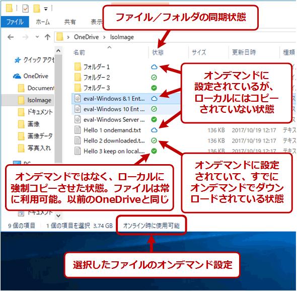 OneDrive上のファイルの状態表示