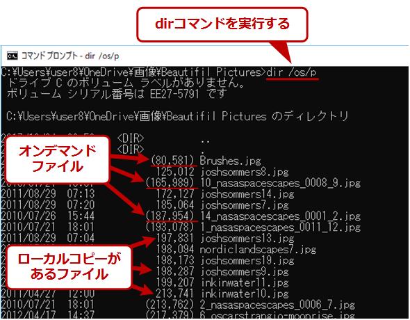 オンデマンドファイルをコマンドプロンプトで見分ける