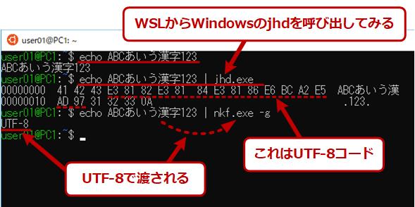 WSLからWindows側のコマンドを呼び出した場合の文字コード
