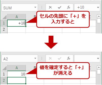 Excelでセルの先頭に「+」記号を入力しても表示されない