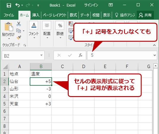 [ユーザー定義]を設定するとセルの表示形式に従って記号が表示される