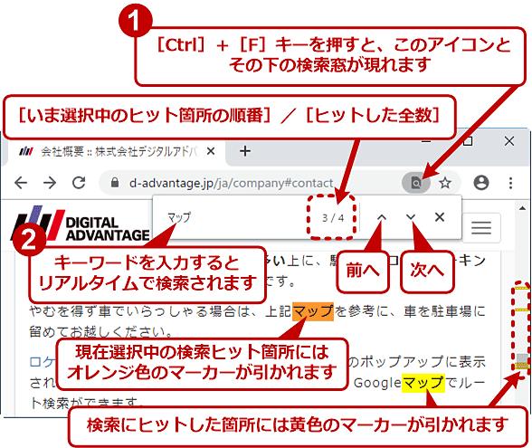 ChromeでWebページ内をテキスト検索する