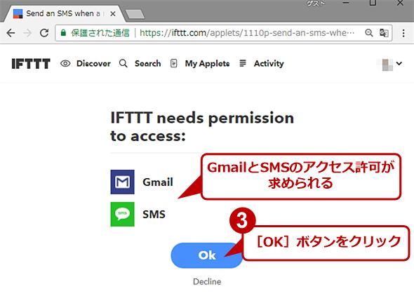 IFTTTが必要なアクセス許可