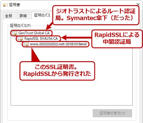 信頼されなくなる予定の証明書の例(RapidSSL発行)