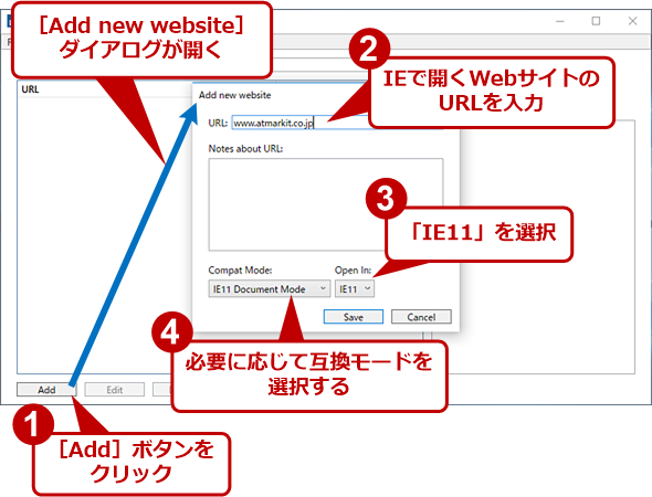 [Enterprise Mode Site List Manager]画面