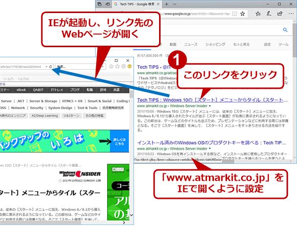 IEで開くように設定したWebサイト