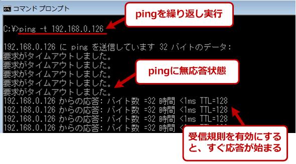 pingへの応答例