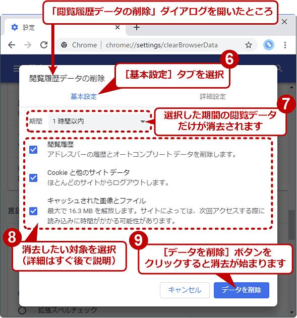 Chromeの閲覧履歴消去ダイアログの[基本]タブ