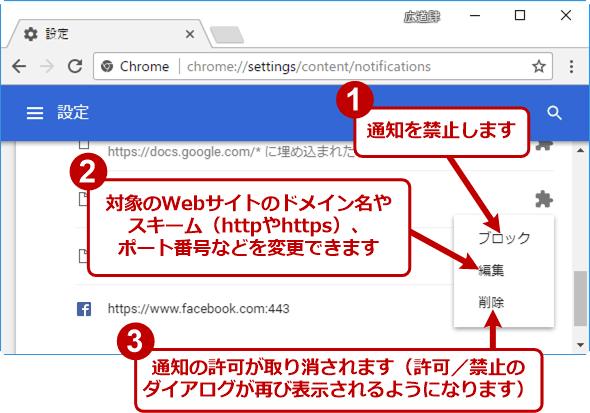 個々のWebサイトごとに通知の設定を変更