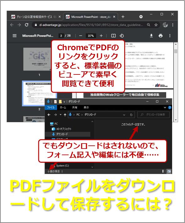 ChromeでPDFのリンクをクリックすると、標準装備のビューアで素早く閲覧できて便利。でもダウンロードはされないので、フォーム記入や編集には不便……。PDFファイルをダウンロードして保存するには?